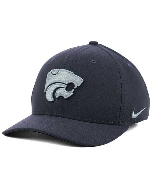 new style a2308 ccf0a ... Nike Kansas State Wildcats Anthracite Classic Swoosh Cap ...