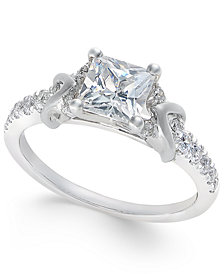 Certified Princess Cut Diamond Engagement Ring (1-1/2 ct. t.w.) in 18k White Gold