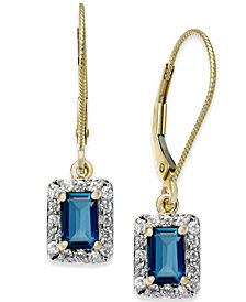 Blue Topaz (1-3/8 ct. t.w.) & Diamond (1/3 ct. t.w.) Drop Earrings in 14k Gold
