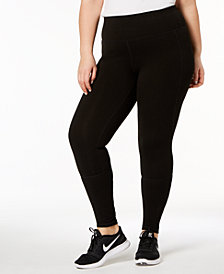 Ideology Plus Size Mesh-Inset Leggings, Created for Macy's