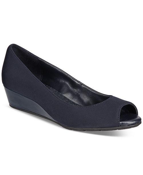 44cd318f1e7 Bandolino Candra Peep-Toe Wedge Pumps   Reviews - Pumps - Shoes - Macy s