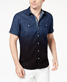 I.N.C. Men's Dip-Dyed Denim Shirt, Created for Macy's
