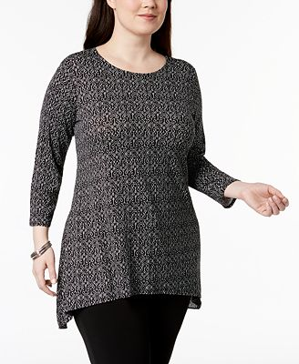 Alfani Plus Size Printed High-Low Tunic, Created for Macy's