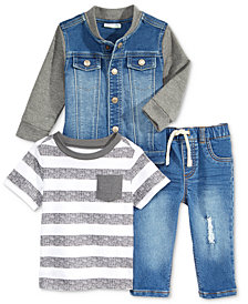 First Impressions T-Shirt, Jacket & Denim Jeans Separates, Baby Boys, Created for Macy's