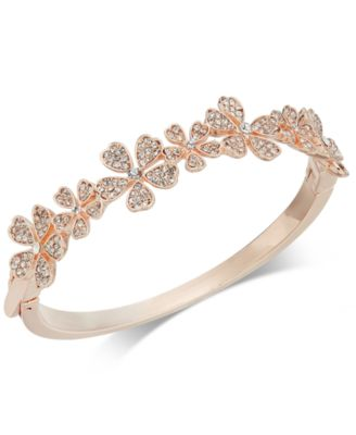 Image of Charter Club Rose Gold-Tone Crystal Flower Bangle Bracelet, Created for Macy's