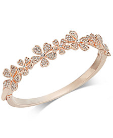 Charter Club Rose Gold-Tone Crystal Flower Bangle Bracelet, Created for Macy's