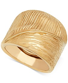 Wide Textured Statement Ring in 14k Gold