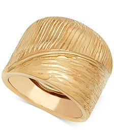 Italian Gold Wide Textured Statement Ring in 14k Gold