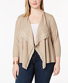 Love Scarlett Plus Size Lace-Trim Ribbed Cardigan