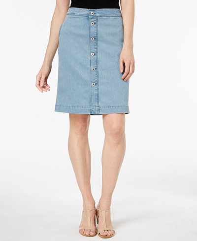 Style & Co Petite Button-Front Denim Midi Skirt, Created for Macy's