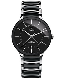Rado Men's Swiss Automatic Centrix GMT XL Stainless Steel & Black High-Tech Ceramic Bracelet Watch 40mm