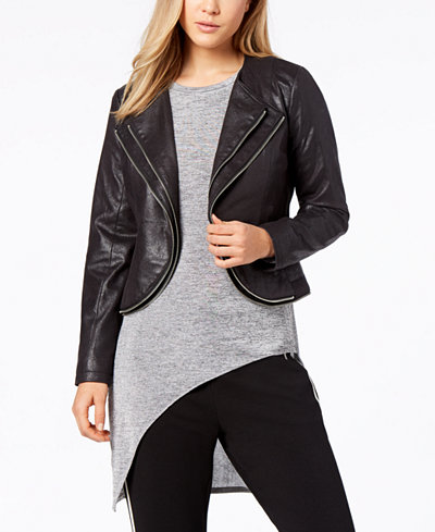 Bar III Tiered Faux-Leather Moto Jacket, Created for Macy's
