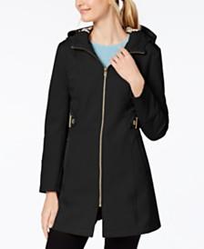 Via Spiga Petite Side-Tab Hooded Raincoat