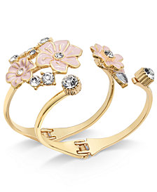 I.N.C. Gold-Tone 2-Pc. Set Crystal & Pink Flower Hinged Cuff Bracelets, Created for Macy's