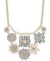 """I.N.C. Gold-Tone Multi-Flower Statement Necklace, 17"""" + 3"""" extender, Created for Macy's"""
