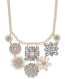 "I.N.C. Gold-Tone Multi-Flower Statement Necklace, 17"" + 3"" extender, Created for Macy's"