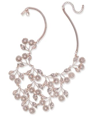 INC Rose GoldTone Pearl Crystal Statement Necklace 16 3