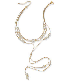 """I.N.C. Rose Gold-Tone Imitation Pearl Multi-Strand Lariat Choker Necklace, 14"""" + 3"""" extender, Created for Macy's"""