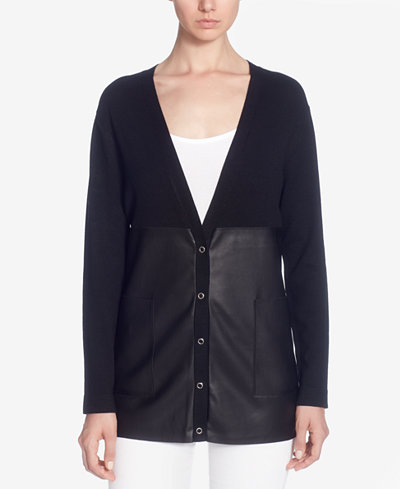 Catherine Catherine Malandrino Calvin Pieced Faux-Leather Cardigan