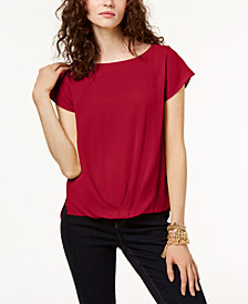 I.N.C. Petite Pleated-Hem Top, Created for Macy's