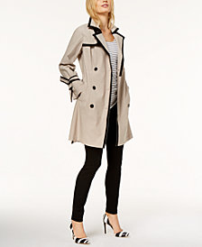 I.N.C. Petite Contrast-Trim Belted Trench Coat, Created for Macy's