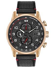 Men's Chronograph Eco-Drive Primo Black Leather Strap Watch 45mm