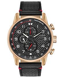 Citizen Men's Chronograph Eco-Drive Primo Black Leather Strap Watch 45mm