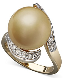 14k Gold Ring, Cultured Golden South Sea Pearl (14mm) and Diamond (1/3 ct. t.w)