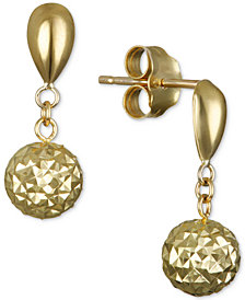 Textured Drop Earrings in 10k Gold