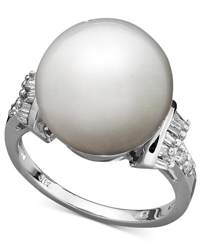 14k White Gold Ring, Cultured South Sea Pearl (13mm) and Diamond (1/4 ct. t.w.) Ring