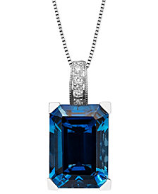 14k White Gold Necklace, London Blue Topaz (9-1/3 ct. t.w.) and Diamond Accent Emerald Cut Pendant