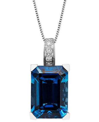 14k White Gold Necklace, London Blue Topaz (9-1/3 ct. t.w.) and Diamond Accent Emerald Cut Pendant