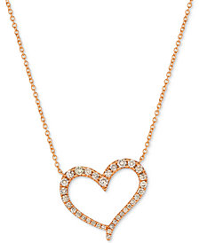 "Le Vian Strawberry & Nude™ Diamond 18"" Pendant Necklace (1/2 ct. t.w.) in 14k Rose Gold"