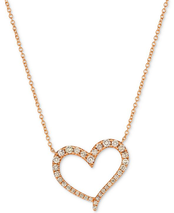 """Le Vian Strawberry & Nude™ Diamond 18"""" Pendant Necklace (1/2 ct. t.w.) in 14k Rose Gold or 14k Yellow Gold"""