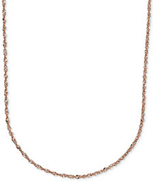 "20"" Italian Gold Two-Tone Perfectina Chain Necklace (1-1/3mm) in 14k Rose Gold"