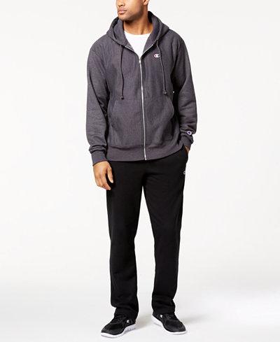 Champion Men's Powerblend Fleece Zip Hoodie, Logo T-Shirt & Powerblend Pants