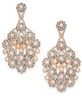 I.N.C. Rose Gold-Tone Pavé & Pink Imitation Pearl Drop Earrings, Created for Macy's