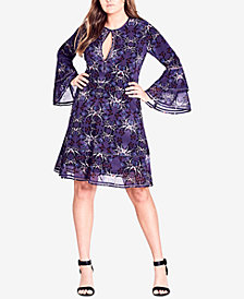 City Chic Trendy Plus Size Butterfly-Print A-Line Dress