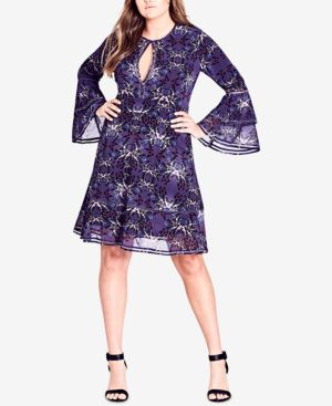 Trendy Plus Size Butterfly-Print A-Line Dress