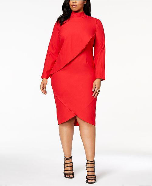 Monif C. Trendy Plus Size Turtleneck Crossover Dress ...