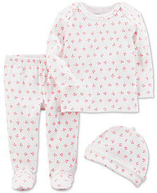 Carters Little Planet Organics  3-Pc. Floral-Print Cotton Take-Me-Home Set, Baby Girls