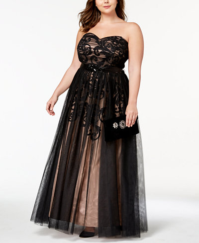 Betsy & Adam Plus Size Strapless Chiffon-Overlay Belted Gown