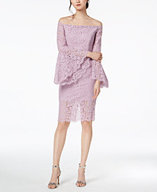 Bardot Off-The-Shoulder Bell-Sleeve Lace Dress