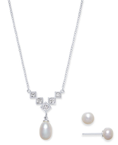 Cultured Freshwater Pearl (7 x 9 & 6mm) & Cubic Zirconia Jewelry Set in Sterling Silver