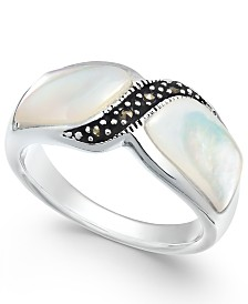 Marcasite and Mother-of-Pearl Ring in Fine Silver-Plate