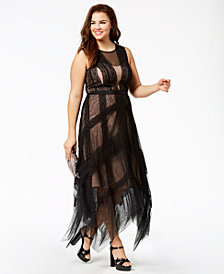 City Chic Trendy Plus Size Lace Handkerchief-Hem Dress