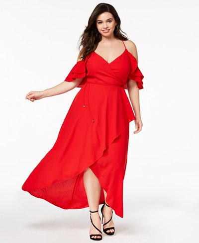 City Chic Trendy Plus Size Cold-Shoulder Maxi Dress