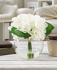Pure Garden White Hydrangea Floral Arrangement with Vase