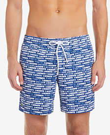 "Lacoste Men's 6.75"" Mid-Length Swim Trunks with Allover Print"