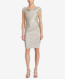 Lauren Ralph Lauren Metallic Cowl-Neck Dress